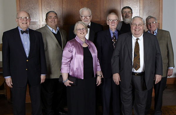 Past and current Club Presidents. From left to right: Walker Johnson, Brian Bernardoni, Wilbert Hasbrouck, William Cuncannon, Larry Lund, Jerry Zisook, Leslie Recht (current President) and Bill Bowe. Photo ©2013 Marcin Murawski